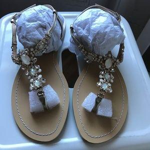 8cf1dc0f409ff Bella Belle Shoes - Bella Belle CRYSTAL JEWEL GOLD DRESS SANDALS LUNA